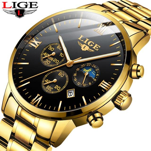 LIGE montre bracelet de Sport pour hommes, qualité militaire, cuir et acier, Top luxe, marque montre étanche décontractée