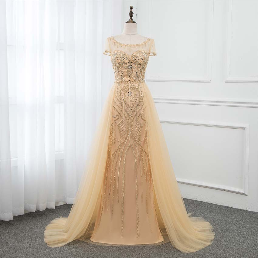YQLNNE Gold Long   Prom     Dresses   Boat Neck Cap Sleeve Crystals Beaded Tulle Vestido de Festa