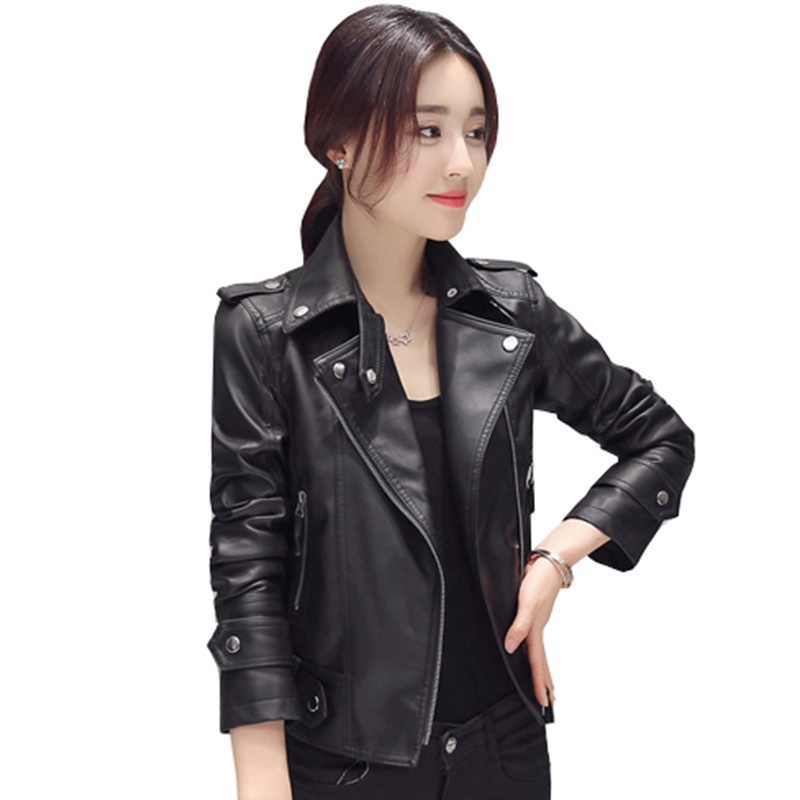 2018 Women Leather Jacket black Bomber Faux Leather Jacket Jack Motorcycle Coats long sleeve outerwear girl leather coat QH0939