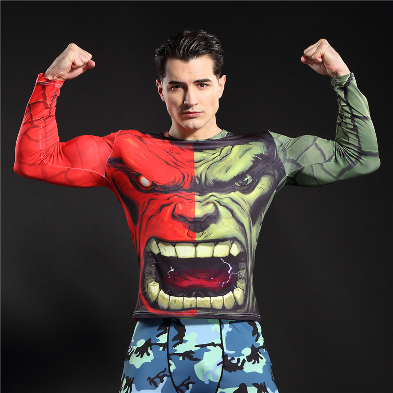 Nyaste Hulk Superman Batman Kompression Base Layer Tights Men Termisk Lång Ärm Tee Shirts Fitness