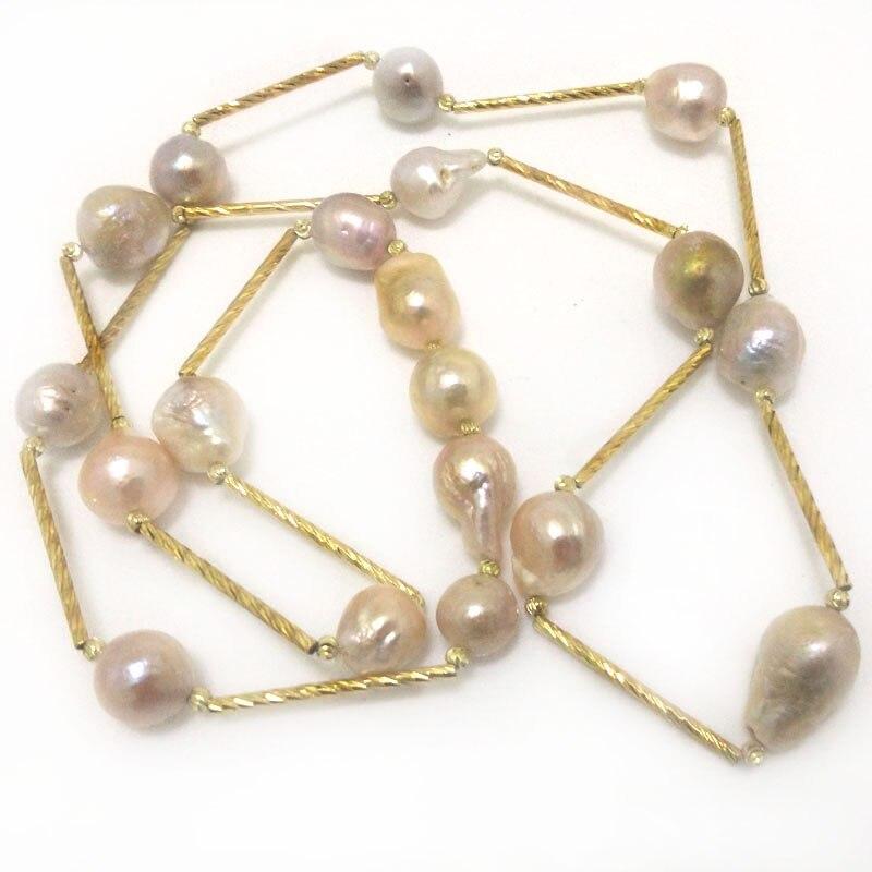 Collier de tasse d'étain rempli d'or de perle Baroque multicolore naturelle de 16 pouces 13-14mm - 2