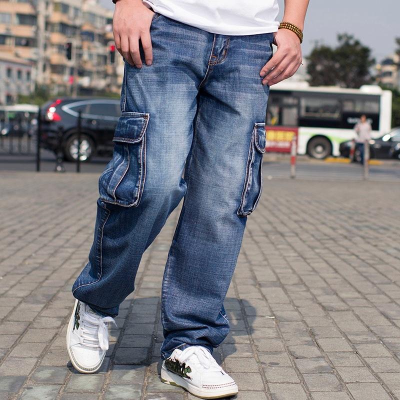 Mens Blue Cargo Jeans Denim Pants With Side Pockets Male Hip Hop Baggy Jeans For Men Loose Wide Leg Jeans Plus Size 42 44 46