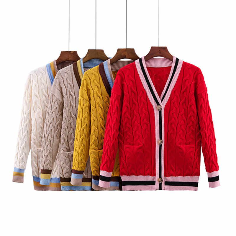 Fahion лоскутный вязаный свитер женский 2018 новый зимний красный женский кардиган с v-образным вырезом толстый теплый полосатый свитер женский пиджак