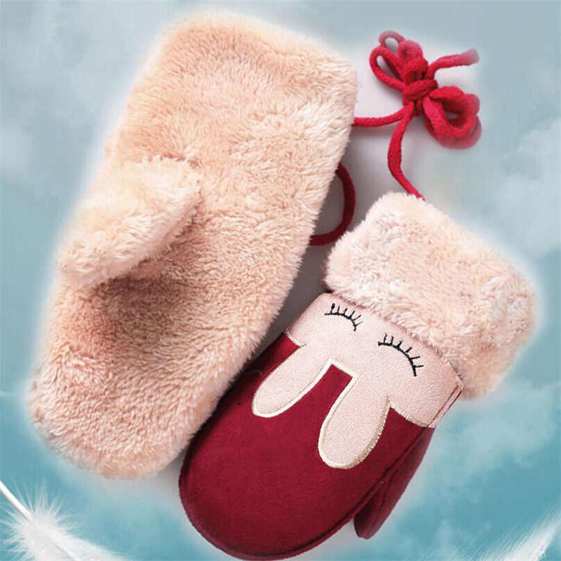 Теплые детские перчатки с рисунком кролика, зима-осень, высокое качество, хлопковые перчатки для маленьких девочек и мальчиков, новинка 2017 года, Bebes, лидер продаж, детские варежки