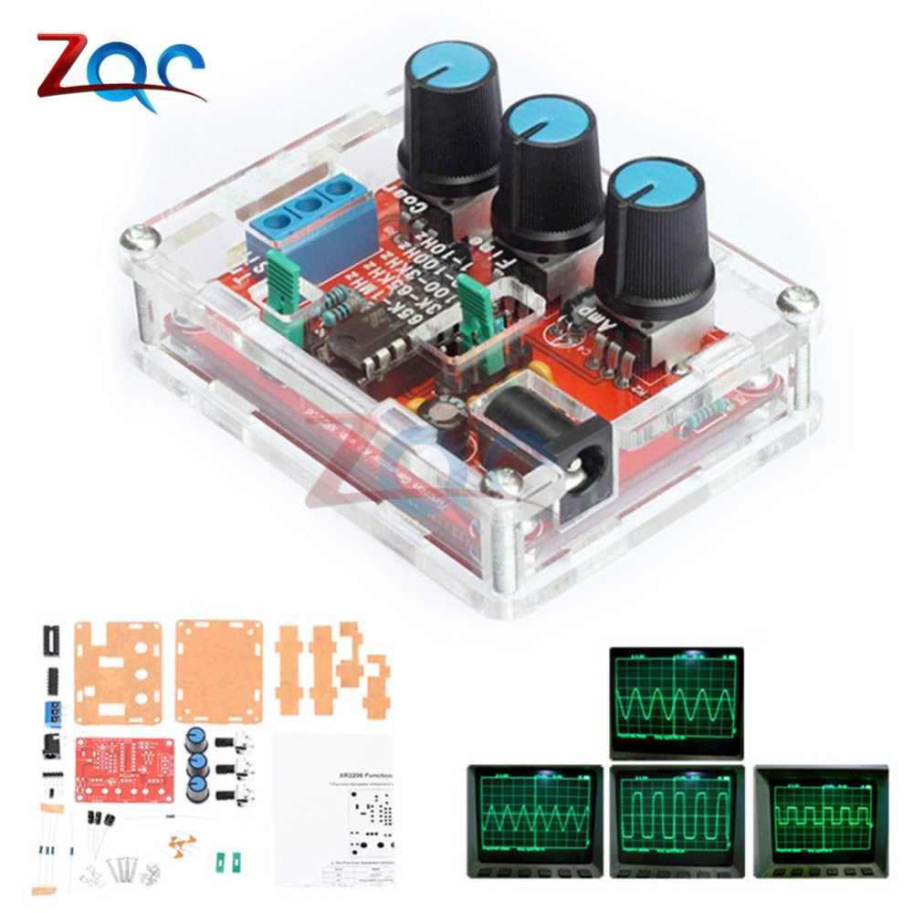 1HZ-1MHZ XR2206 Function Signal Generator DIY Kit Sine/Triangle/Square Output Signal Generator Adjustable Frequency Amplitude