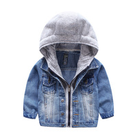 Baby Boys Jacket And Coats Children Hooded Denim Jacket Patchwork Clothes 2016 Autumn Winter Casual Kids