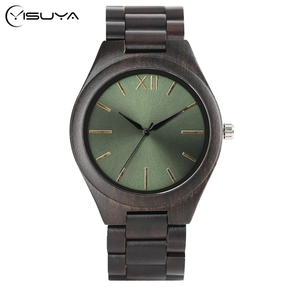 478c3c3d002 Relógio de Pulso Dos Homens Do Esporte Cheio De Madeira De Ébano de bambu  Dobra Fecho Reloj Analógico Pulseira Relógio de Quartzo Relógios Casuais  Simples