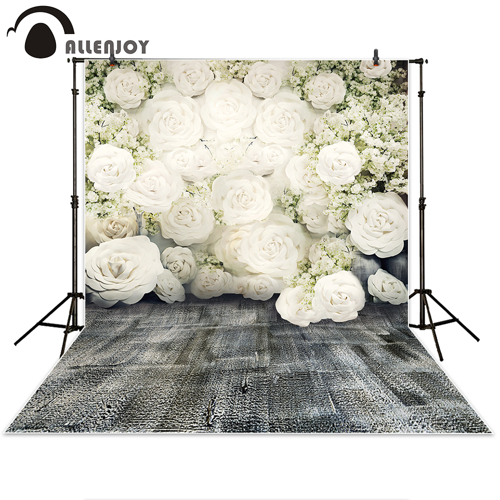 Allenjoy Photography Backdrop white paper flowers wall wedding gray floor background props photocall photobooth Photo studio 10ft 20ft romantic wedding backdrop f 894 fabric background idea wood floor digital photography backdrop for picture taking