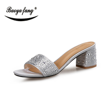 BaoYaFang New Arrival Silver/Black Summer sandals 5cm Thick heel shoes for woman crystal fashion shoes ladies party shoes цена 2017