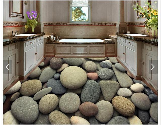 3D Photo Wallpaper Custom 3d Floor Painting Wallpaper 3 D Setting Wall  Stone Floor Living Room