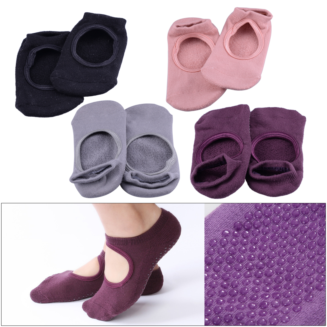 CiciTree 1 Pair Anti-Slip Breathable Socks Women Barre Pilates Fitness Dancing Heel Non Slip Cotton Sock