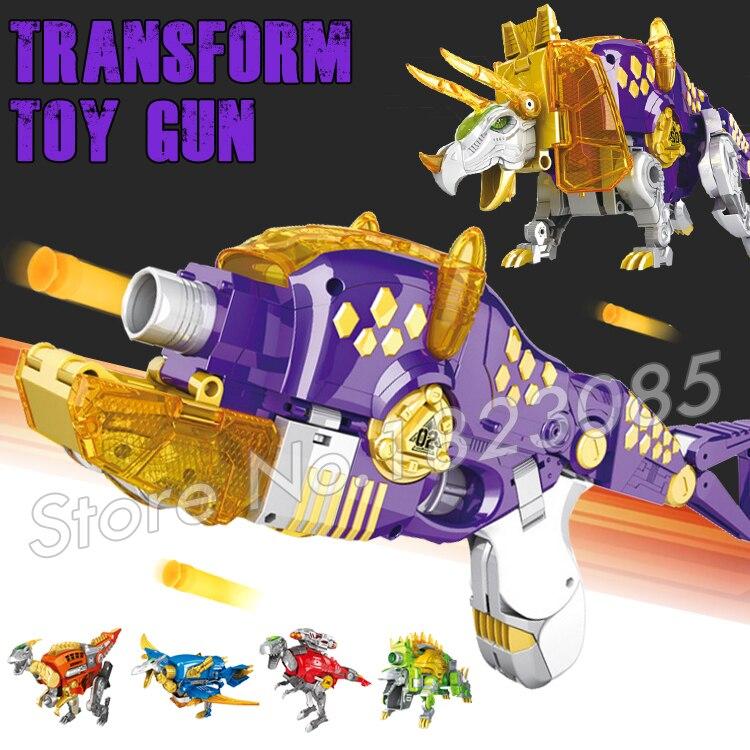 Toy Pistol Gun Soft Bullet Plastic Toys Air Guns Same as N-Strike Distortion Dinosaur Transformation Triceratops Bursts