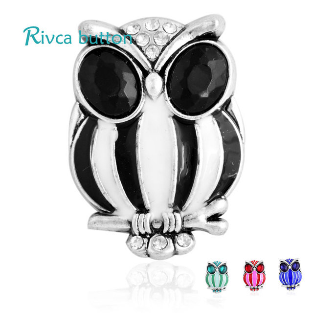 D03441 Rivca Snap Button Jewelry Crystal style 18mm Snap Button Bracelets Men Colorful Rhinestone Charm Bracelets For Women