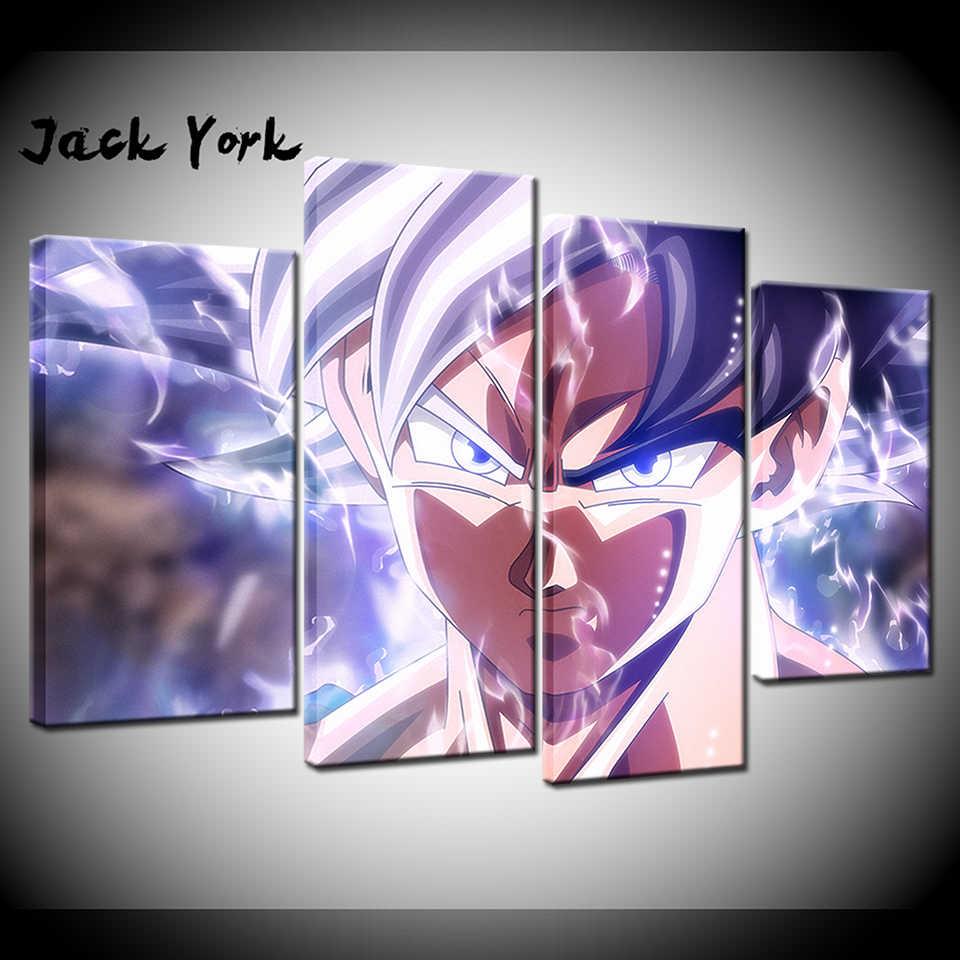 Canvas Painting Goku Mastered Ultra Instinct Vs Jiren 4 Pieces Wall Art Painting Modular Wallpapers Poster Print Home Decor