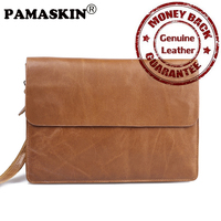 PAMASKIN Brand Guaranteed Premium Real Leather Men Wristlets Business Style Handbags 2017 New Ultra Thin Soft