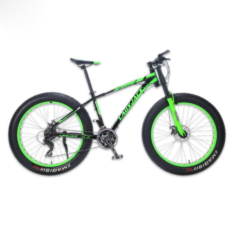 "LAUXJACK Mountain Bike Aluminum Frame 24 Speed Shimano Mechanical Brake Fat Bike 26 x4 0 Wheel LAUXJACK Mountain Bike Aluminum Frame 24 Speed Shimano Mechanical Brake Fat Bike 26""x4.0 Wheel Long Bicycle Fork FatBike"