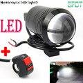 Lente Ojo de Pez Universal 12 W U1 LED de La Motocicleta Luz de Niebla Del Faro de Conducción Spot Trabajo Nocturno Lámpara + Interruptor