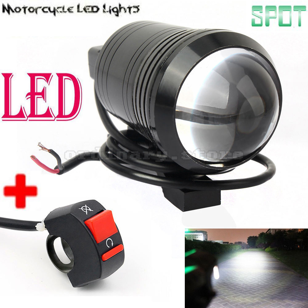 Universal 12W U1 Fisheye Lens LED Motorcycle Light Headlight Driving Fog Spot Night Work Lamp + Switch