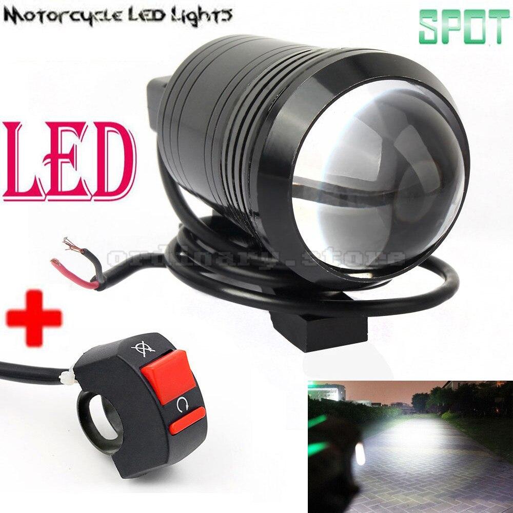 Universal 12W U1 Fisheye Lens LED Motorcycle Light Headlight Driving Fog Spot Night Work Lamp + Switch
