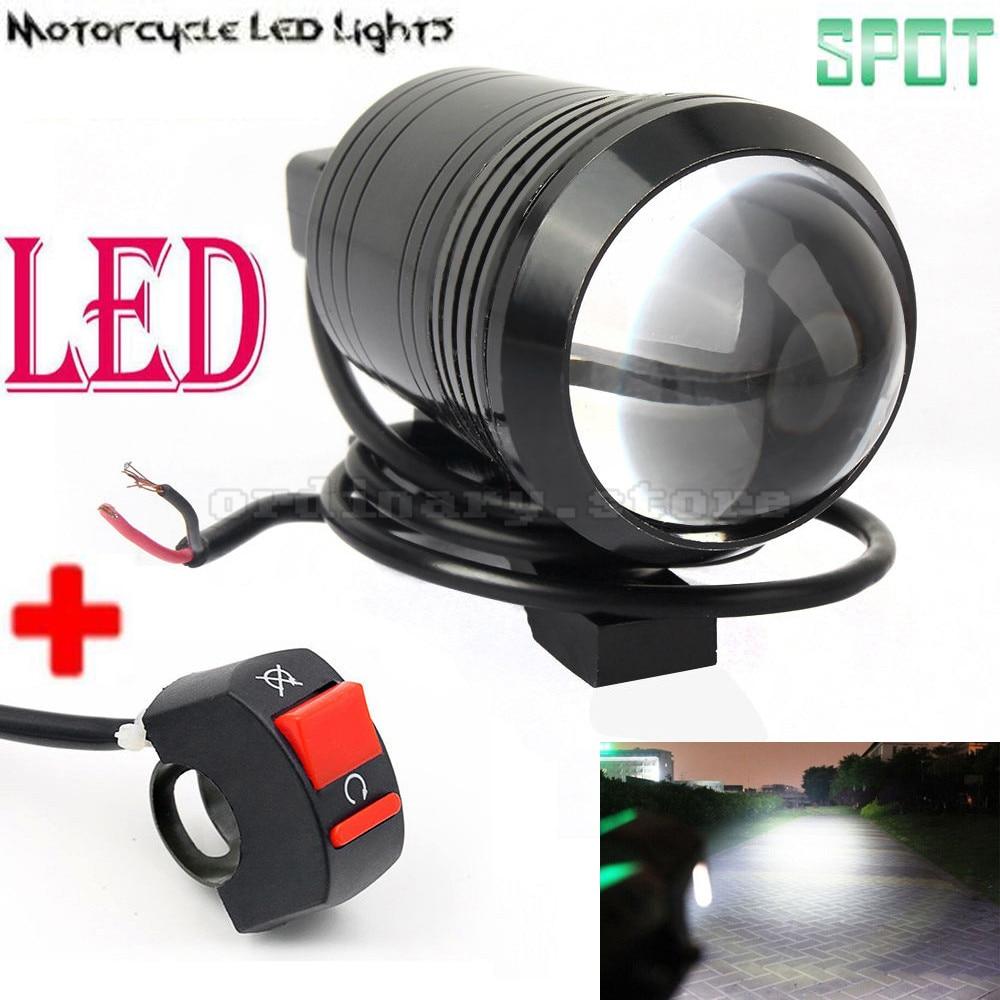 Universel 12 W U1 Fisheye Objectif LED de Moto Lumière Phare Conduite Brouillard Spot Travail de Nuit Lampe + Commutateur