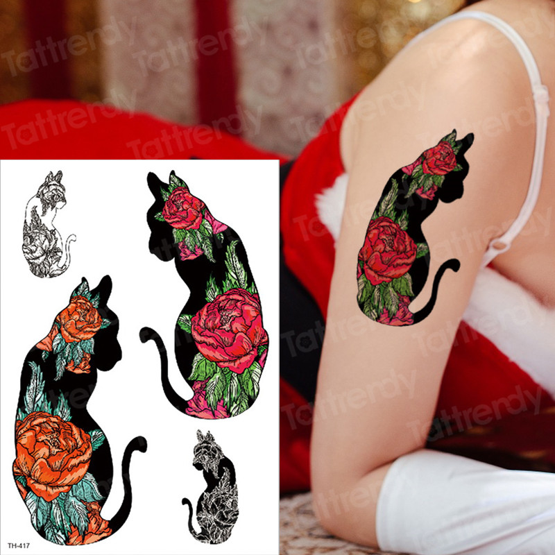 Us 109 30 Off2019 New Halloween Day Of The Dead Deisgns Witch Colorful Cats Ghost Fake Tattoo Sticker Waterproof Temporary Tattoos Girl Party In