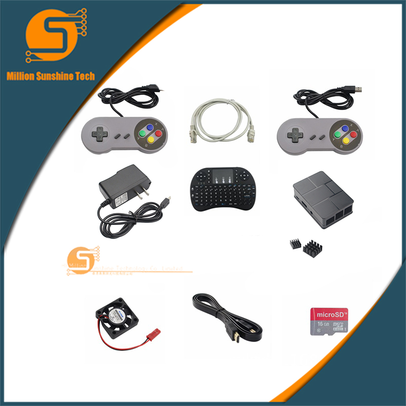 2 pièces poignée de jeu + 1.8 m câble + boîtier + alimentation + dissipateur de chaleur + mini clavier + 1.5 mHDMI + 16G SD + ventilateur pour Raspberry pi 3 B livraison gratuite