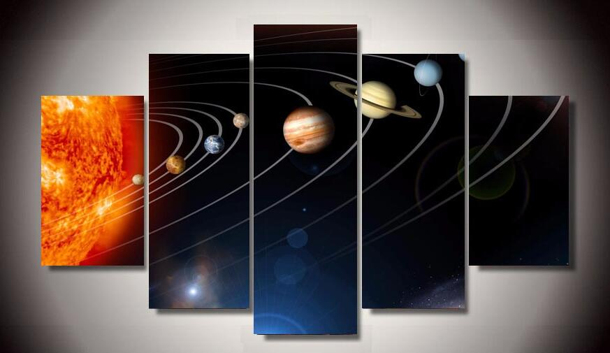 Hd Printed Our Solar System 5 Piece Picture Painting Wall Art Canvas Print Room Decor Poster