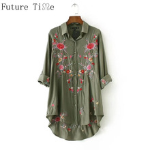 Future Time Women Elegant Floral Embroidery Shirts Long Sleeve Turn Down Collar Blouse femeal Army Green