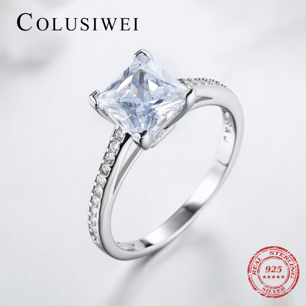 2019 Luxury Brand Engagement AAAAA Cubic Zircon Rings Real 925 sterling silver wedding ring bridal Fine Jewelry for women
