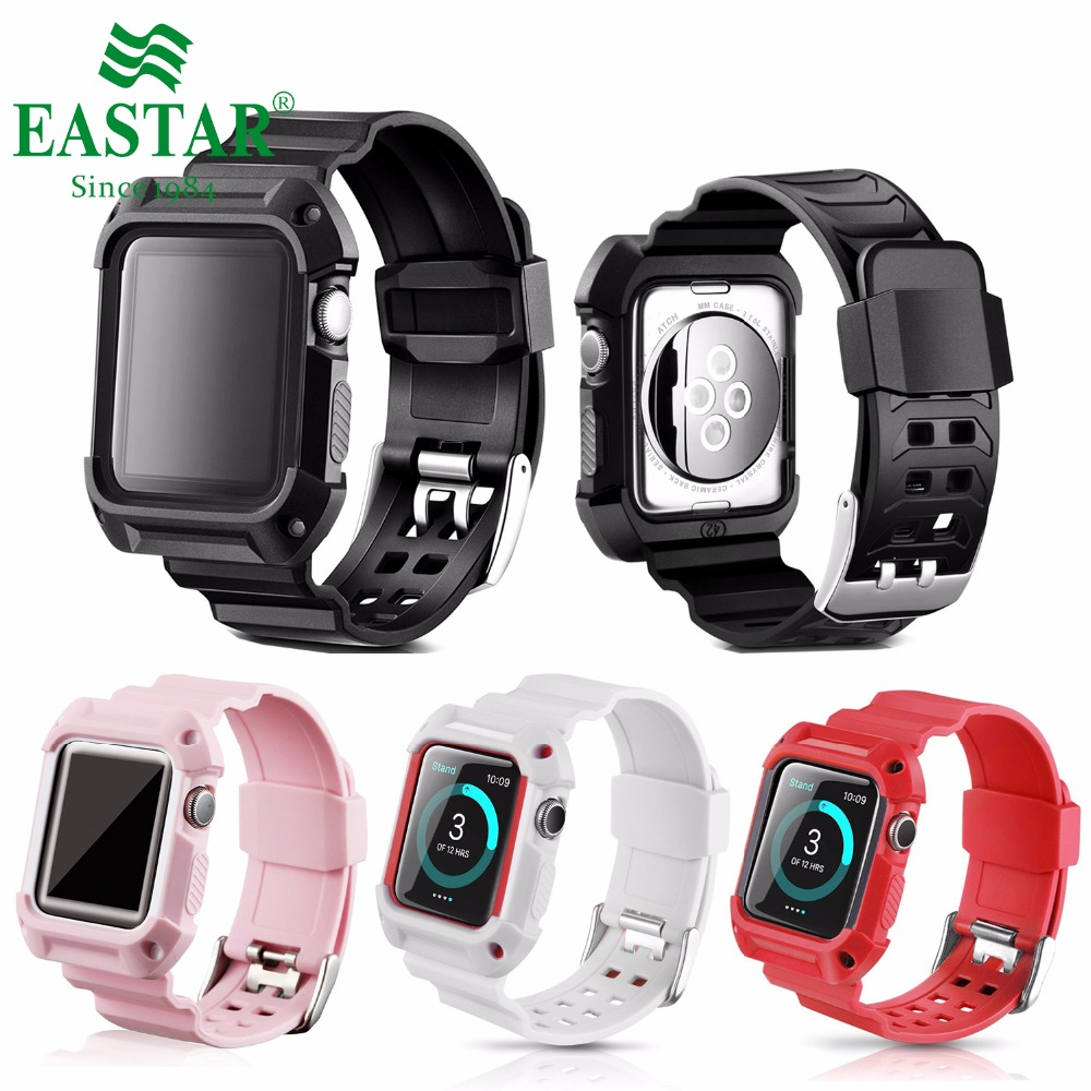 все цены на Eastar Colorful Plastic Protective Case Shockproof Watchband for Apple Watch Series 3/2/1 Sport 42mm 38 mm Strap For iwatch Band онлайн