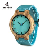 BOBO BIRD WC28 Mens Blue Leather Band Antique Wood Watches With Blue Anlaogue Display Bamboo Wooden