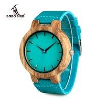 ボボ鳥WC28メンズブルーレザーバンドアンティークウッド腕時計でブルーanlaogueディスプレイ竹木製腕時計でギフトボックス
