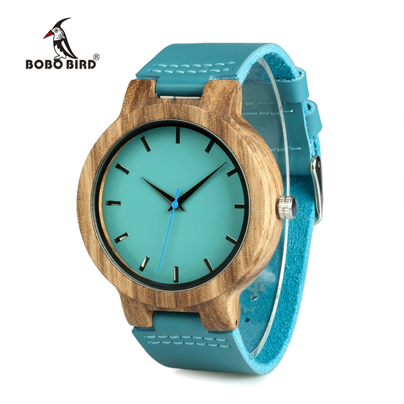 BOBO BIRD Lovers Wood Watches Turquoise Blue Leather Strap Natural Wooden Men Watch Timepieces in Gift Box Accept Drop Shipping
