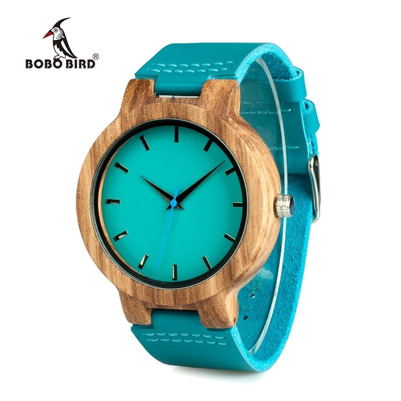 Bobo Bird wc28 mens banda de cuero azul madera antigua relojes con azul anlaogue Pantalla de madera de bambú relojes en caja de regalo