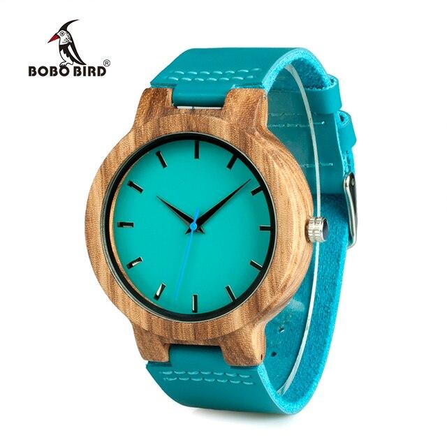 Бобо птица wc28 мужские синий кожаный ремешок старинного дерева Часы с голубой anlaogue Дисплей Бамбук Деревянные Часы в подарочной коробке