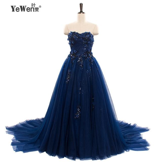 2016 A line Elegant Sweetheart Evening Dresses long Bridal gown royal blue party Prom Dresses formal dress robe de soiree