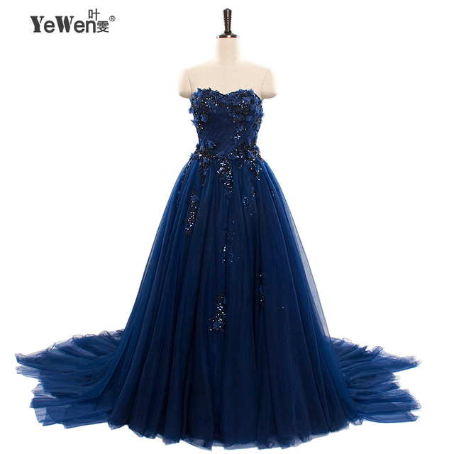 2018 A line Elegant Sweetheart Evening Dresses long Bridal gown royal blue party Prom Dresses formal dress robe de soiree