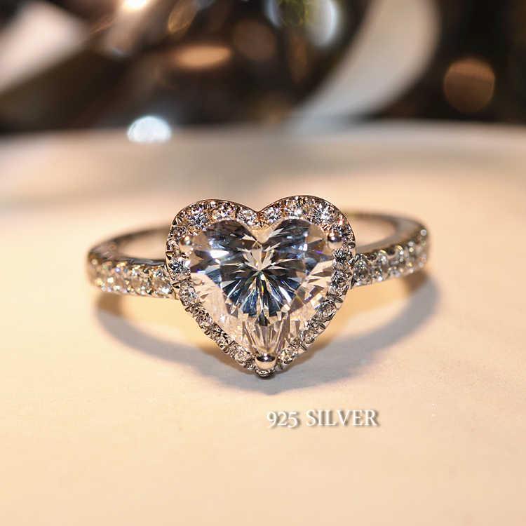 귀여운 여성 빅 하트 반지 크리스탈 AAA 지르콘 스톤 결혼 반지 여성을위한 실버 컬러 약혼 반지 새해 선물