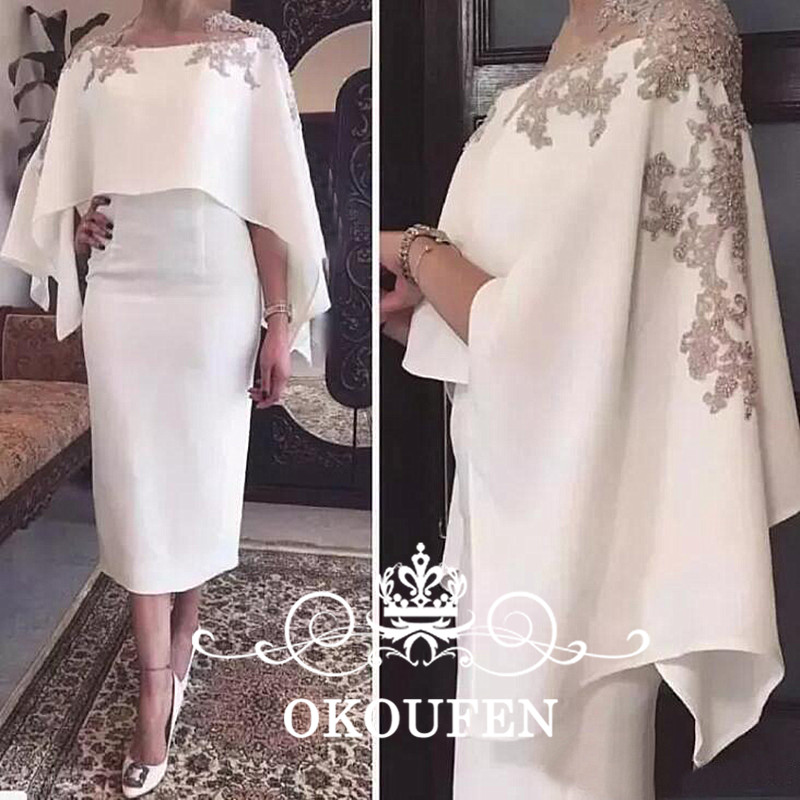 2018 Cape Shawl Half Sleeves Mother of the Bride Dresses With Appliques White Tea Length Sheath Cocktail Dress Evening Gowns