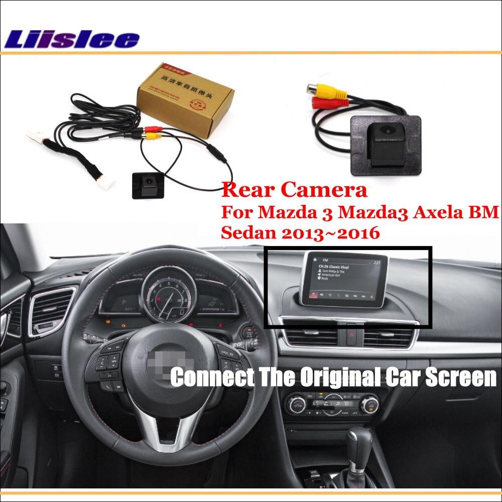 Liislee Pour Mazda 3 Mazda3 Axela BM Berline 2013 ~ 2016/Voiture Vue Arrière Caméra de Recul Ensembles/RCA et Original Écran Compatible