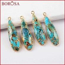 673aa9191f39 BOROSA 5 10 piezas nueva llegada lágrima de oro Color cobre Natural turquesa  colgante joyería para pendientes Collar G1547