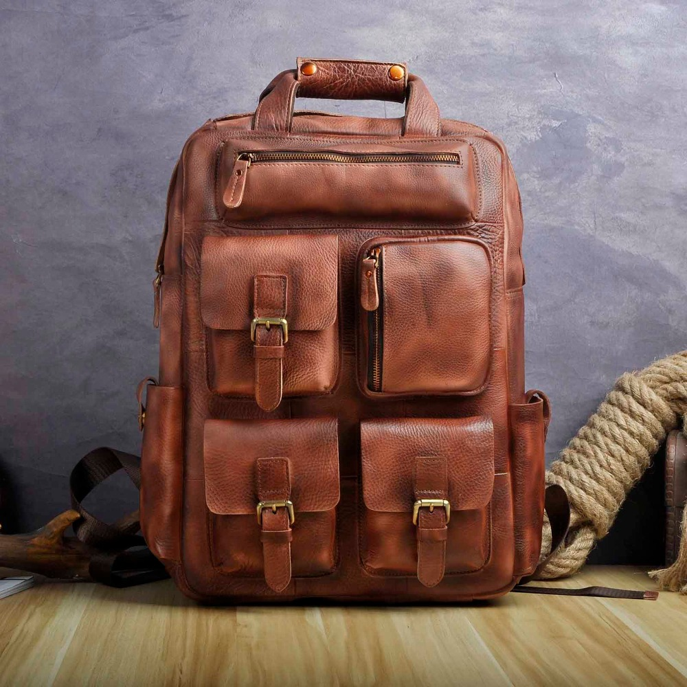 Leather Heavy Duty Design Men Travel Casual Backpack Daypack Rucksack Fashion Knapsack College School Book Laptop Bag 1170bu genuine leather heavy duty design men travel casual backpack daypack fashion knapsack college school book laptop bag male 1170c