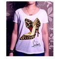 Autumn Basic T shirt Women High-heeled Shoes Printing T-shirts White Color Leisure Tops
