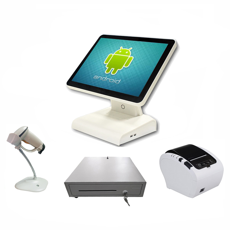 Android pos system all in one pos terminal with receipt printer cash box and barcode reader for retail store cashier