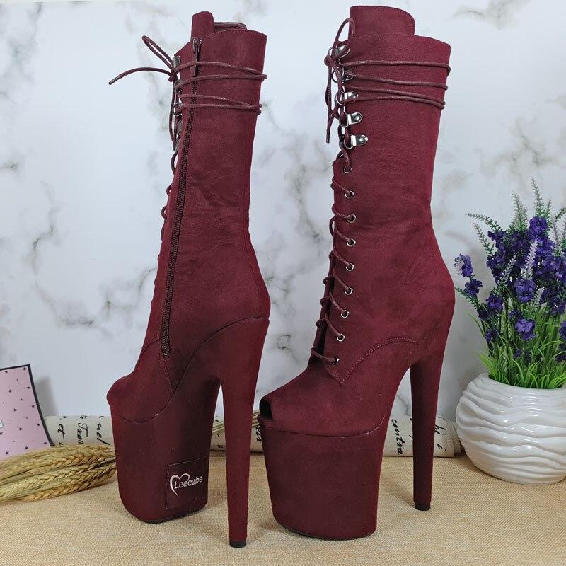 Leecabe Date 20 cm Pôle danse chaussures Haut Talon plate-forme Bottes à bout ouvert avec franges Pôle Danse boot