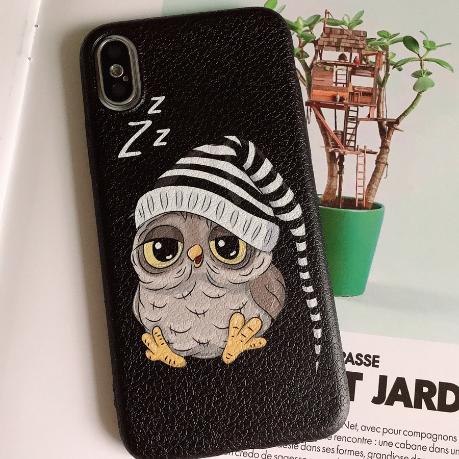 Cases For Iphone X 8 7 6 Plus Case Luxury Lichi Grain Soft TPU Back Phone Cover Cute Lover Owl For Iphone 7 6S 8Plus 7Plus 10