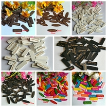 Sewing Decorative  Accessories 50Pcs hand made Tag Brand Wood Label Wooden Buttons Craft Scrapbooking Supplies