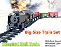 Большой Размер Классические игрушки На Батарейках Железнодорожных рельсов Поезд Электрические Игрушки Вагон с Звук и Свет и Для Железнодорожных автомобиль для Ребенка