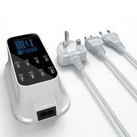 40W Desktop 8 USB Ports LCD Display Fast Charging Station Dock Charger Adapter LCD Display Fast Charging