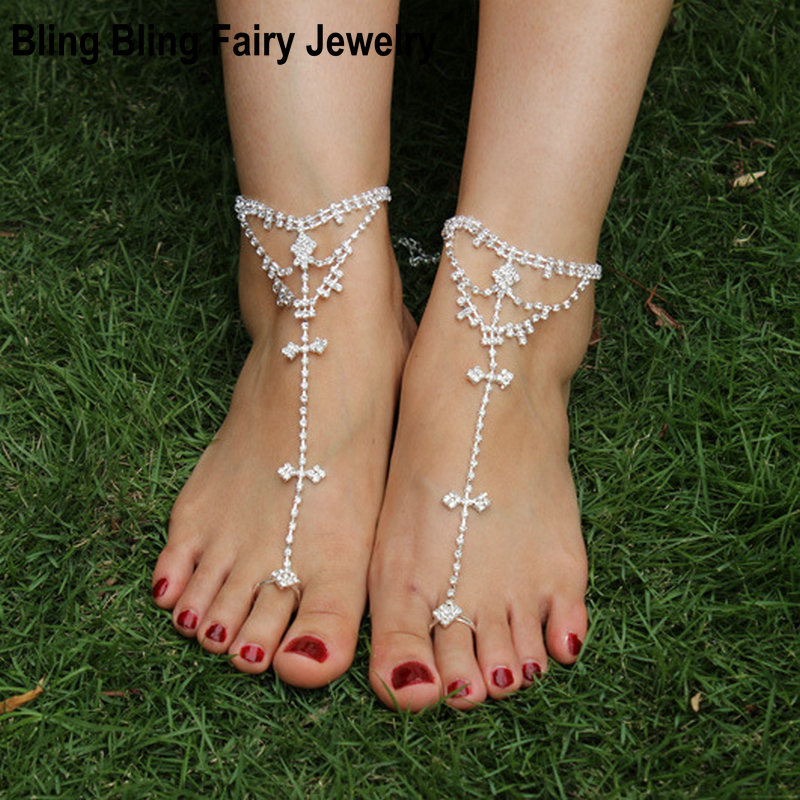 1 PCS Women Anklet Clear Crystal Rhinestone Beach Barefoot Sandals Anklet, Free Shipping
